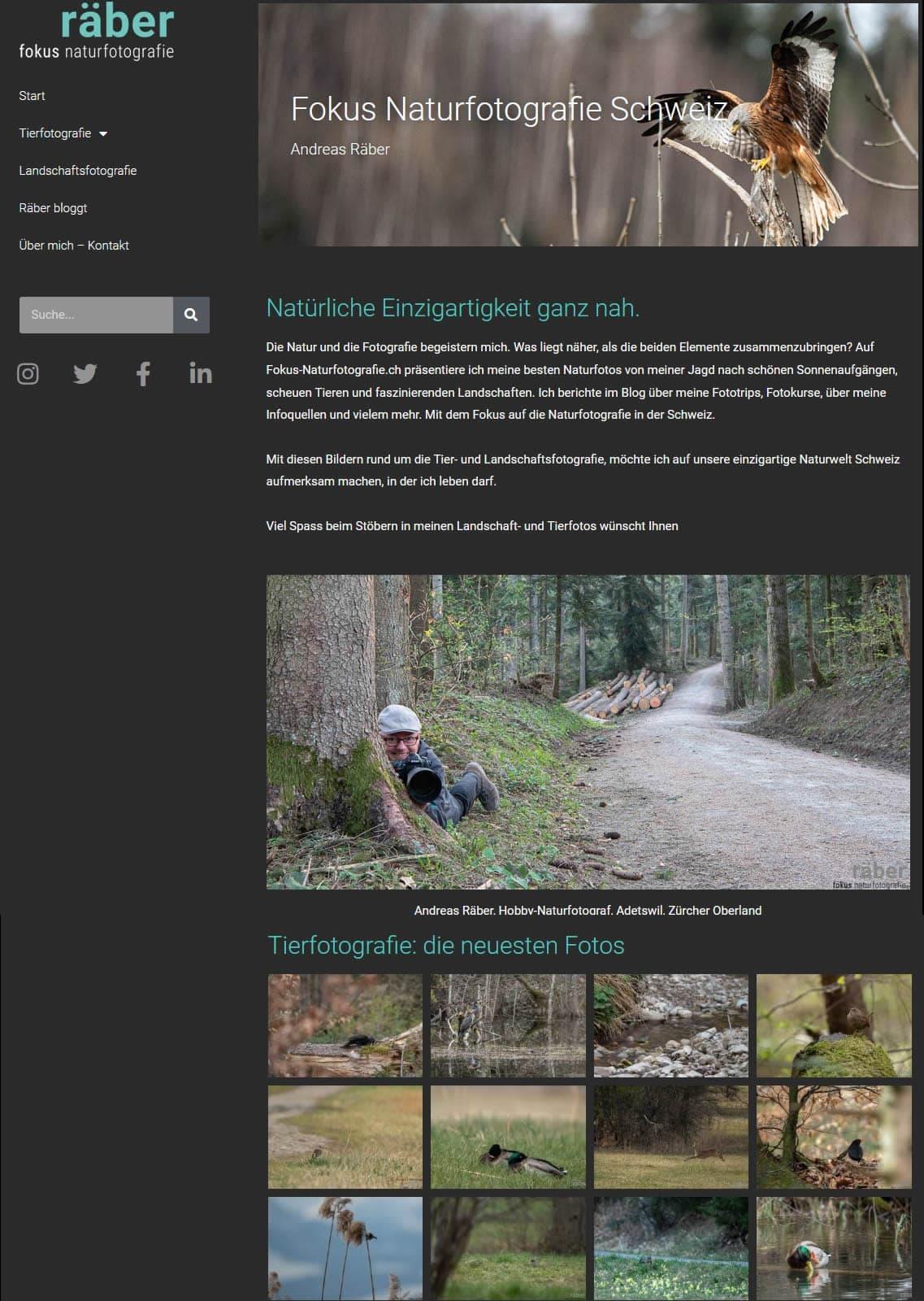 räber Naturfotografie: Tierfotografie, Landschaftsfotografie Schweiz